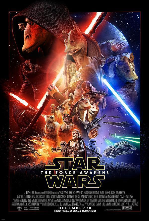 Jar Jar Binks prende il suo posto nella locandina ufficiale di Star Wars 7