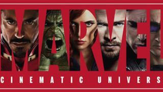 """Il testo """"Marvel"""" con i protagonisti"""