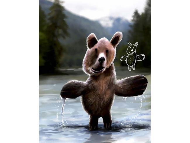Orso creato con Photoshop e disegno originale