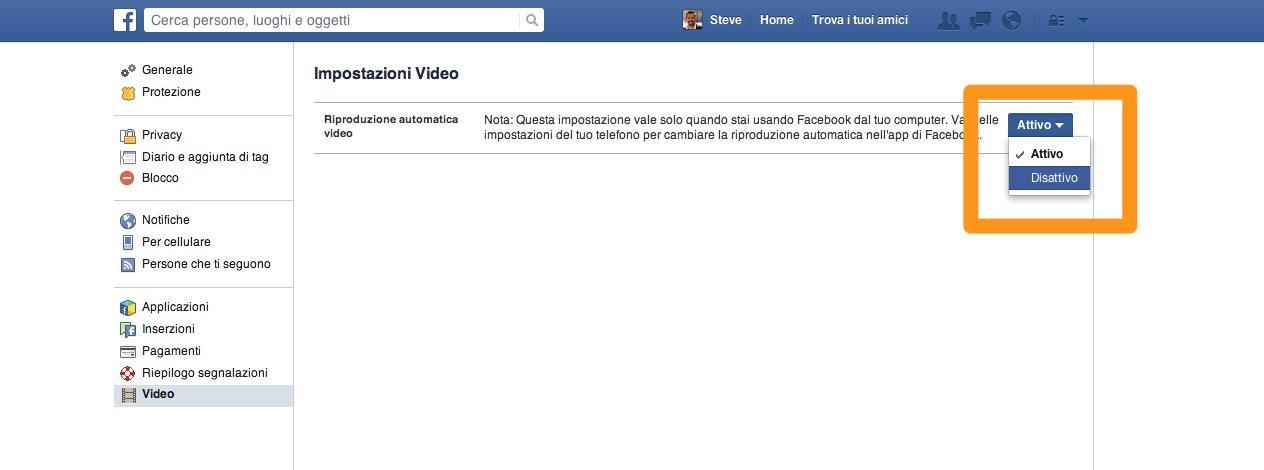 Disattivazione video automatici su Facebook