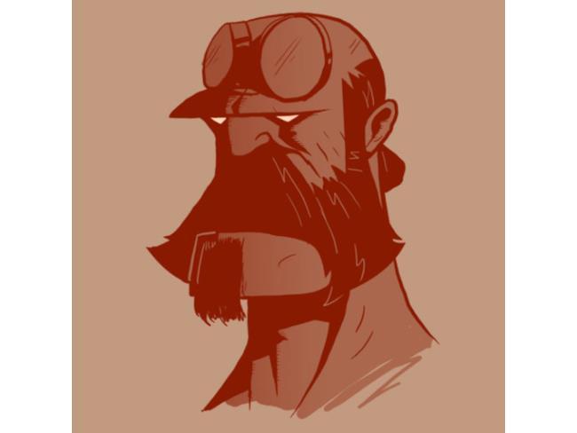 Hellboy barbuto