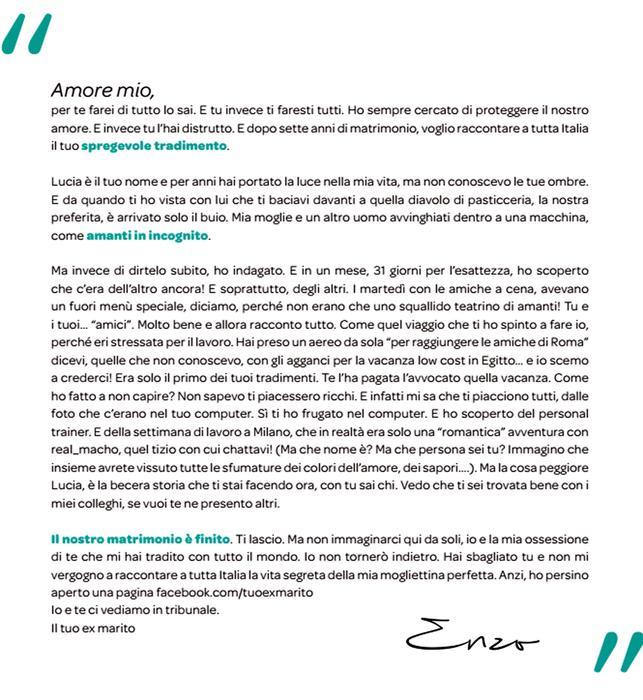 La lettera del Corriere con cui Enzo ha lasciato la moglie Lucia