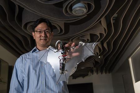 Ingegnere mostre il prototipo del drone pipistrello