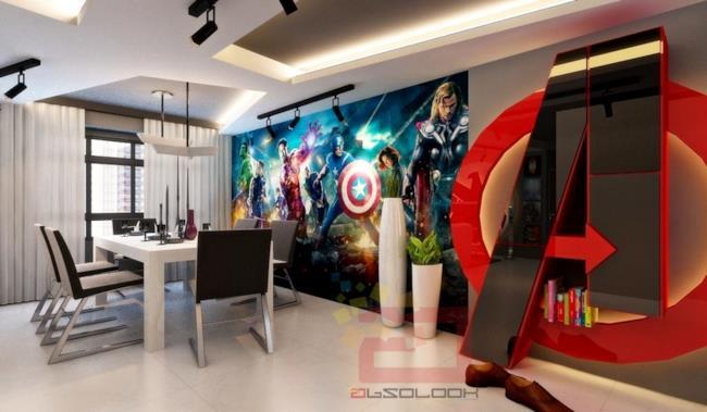 La sala da pranzo dell'appartamento a tema Avengers, dedicato al primo film