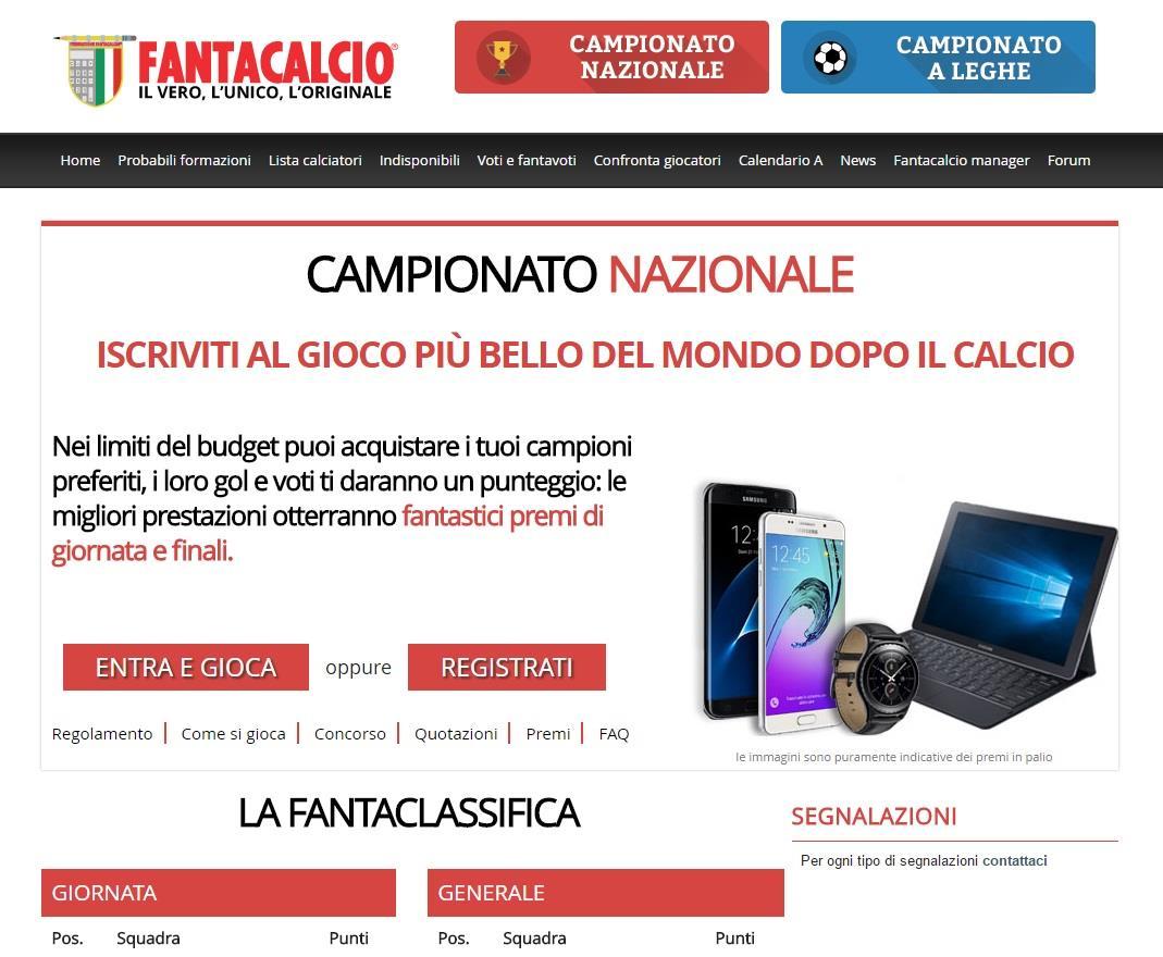 La home page del Fantacalcio di Repubblica