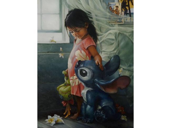 Lolo e Stitch in un'opera d'arte ispirata alle Principesse Disney