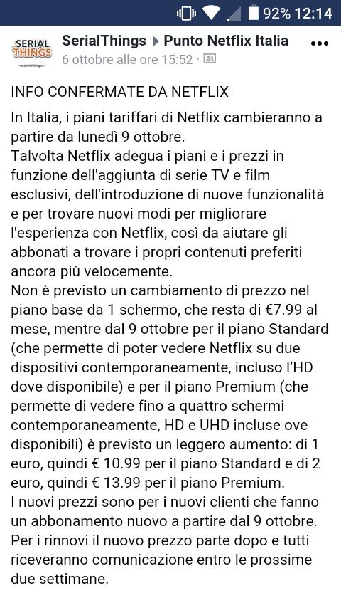 Uno screenshot di informazioni relative al piano tariffario Netflix