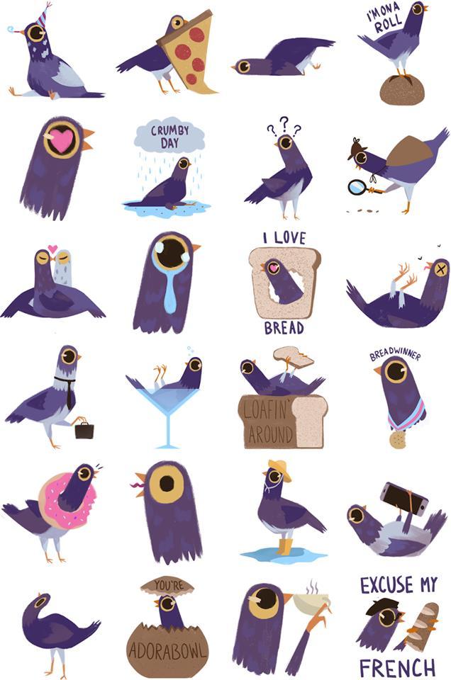 tutte le emoji del piccione viola