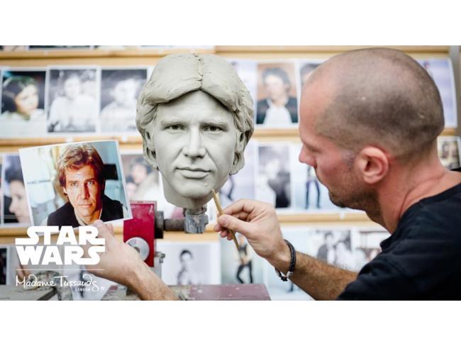 Han Solo di cera in una fase della produzione