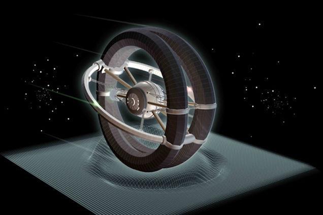 Concept di navicella spaziale con motore a curvatura