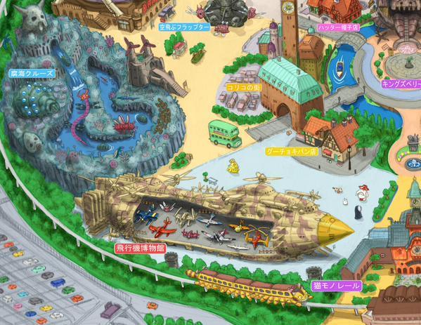 Particolare della mappa di Ghibli Land Tokyo