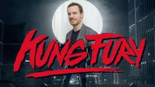 L'attore Michael Fassbender sovrapposto al vero protagonista nella locandina di Kung Fury