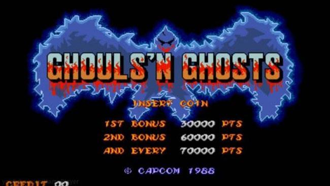 La schermata iniziale di Ghouls 'N Ghosts