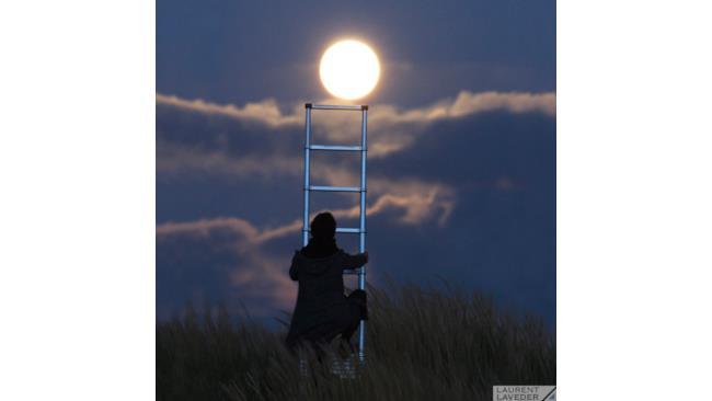 una persona cerca di raggiungere la Luna con una scala