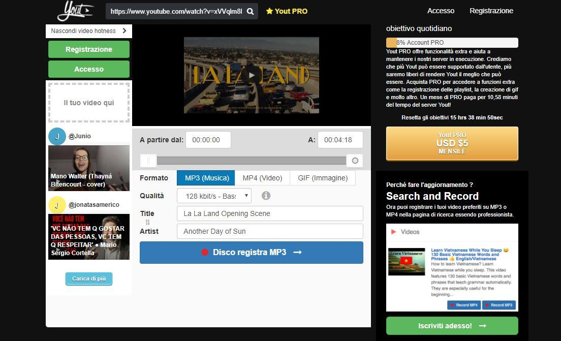 La home page del sito Yout - Come scaricare musica da YouTube