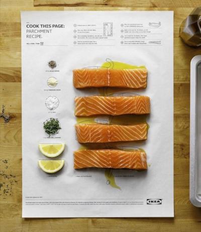 Tutti gli ingredienti per il piatto di salmone in posizione