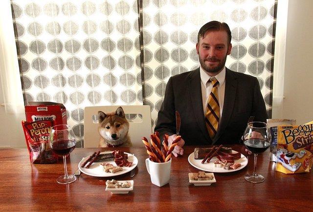 Un assaggiatore di cibo per animali al lavoro