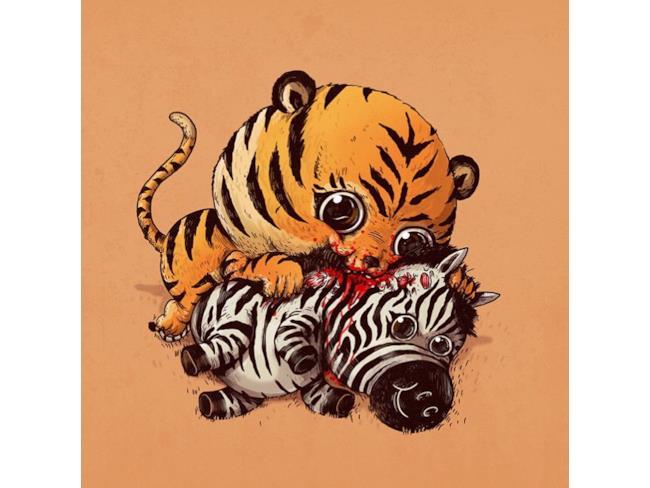 Un'adorabile tigre addenta una zebra