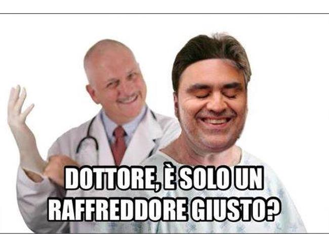 Meme di Andrea Bocelli dal dottore