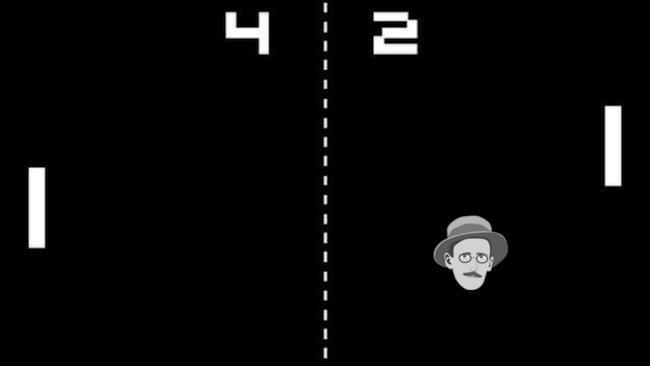 Il volto di James Joyce usato come pallina per il videogioco Pong