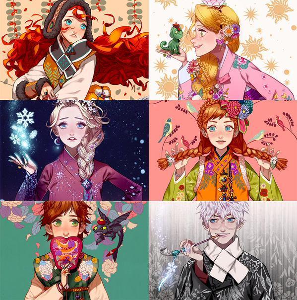 I personaggi Dreamworks e Disney dell'artista coreano Byajae