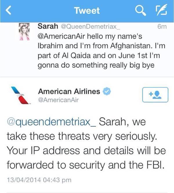 Tweet finto di minaccia contro American Airlines