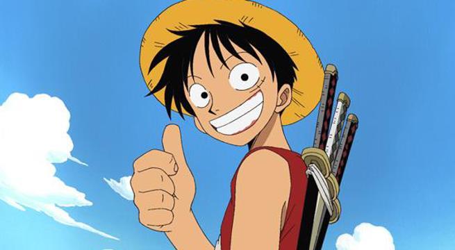 Il protagonista della saga di One Piece che sorride