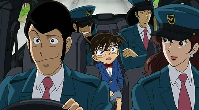Una scena del film che ha visto scontrare Lupin III e il detective Conan.