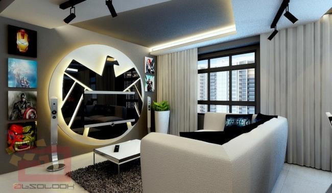 Il salotto dell'appartamento a tema Avengers con il simbolo dello SHIELD