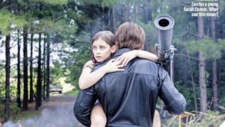 Un terminator e la giovane Sarah Connor