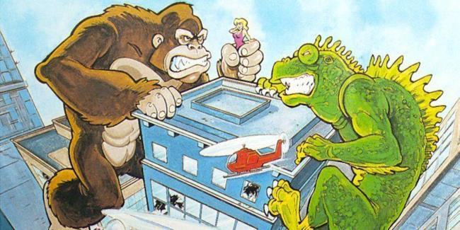 Una lucertola gigante ed un gorilla distruggono un grattacielo americano