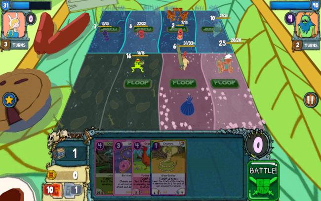 Una schermata di una partita a Card Wars