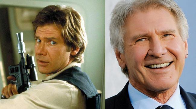 Un'immagine datata e una attuale di Harrison Ford