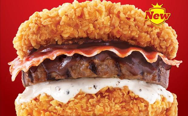 Panino Zinger Double Down King di KFC