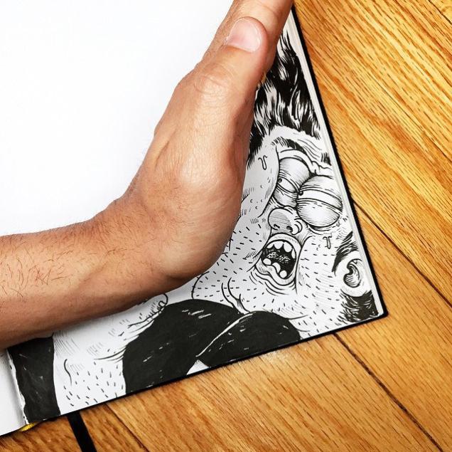 Il disegnatore schiaccia il suo personaggio