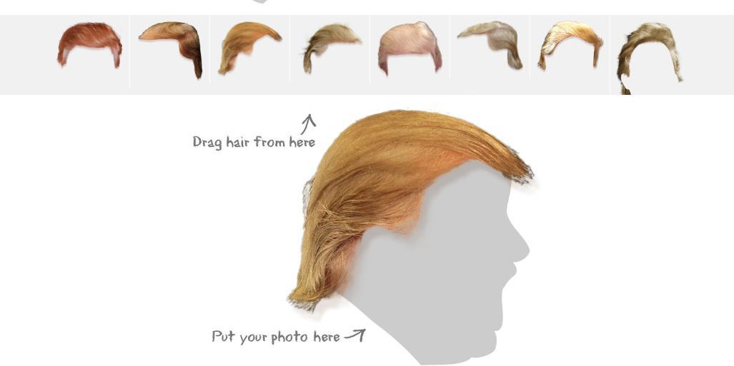 Lo screenshot del sito che ti permette di aggiungere i capelli di Trump alle tue foto