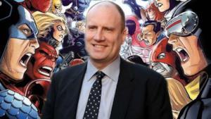 Kevin Feige, capo Marvel, attorniato dai suoi supereroi.