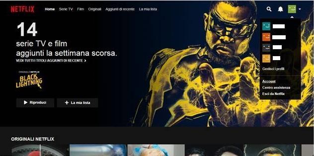 La schermata con il menu a tendina nel proprio account Netflix - Come disdire Netflix, la guida completa