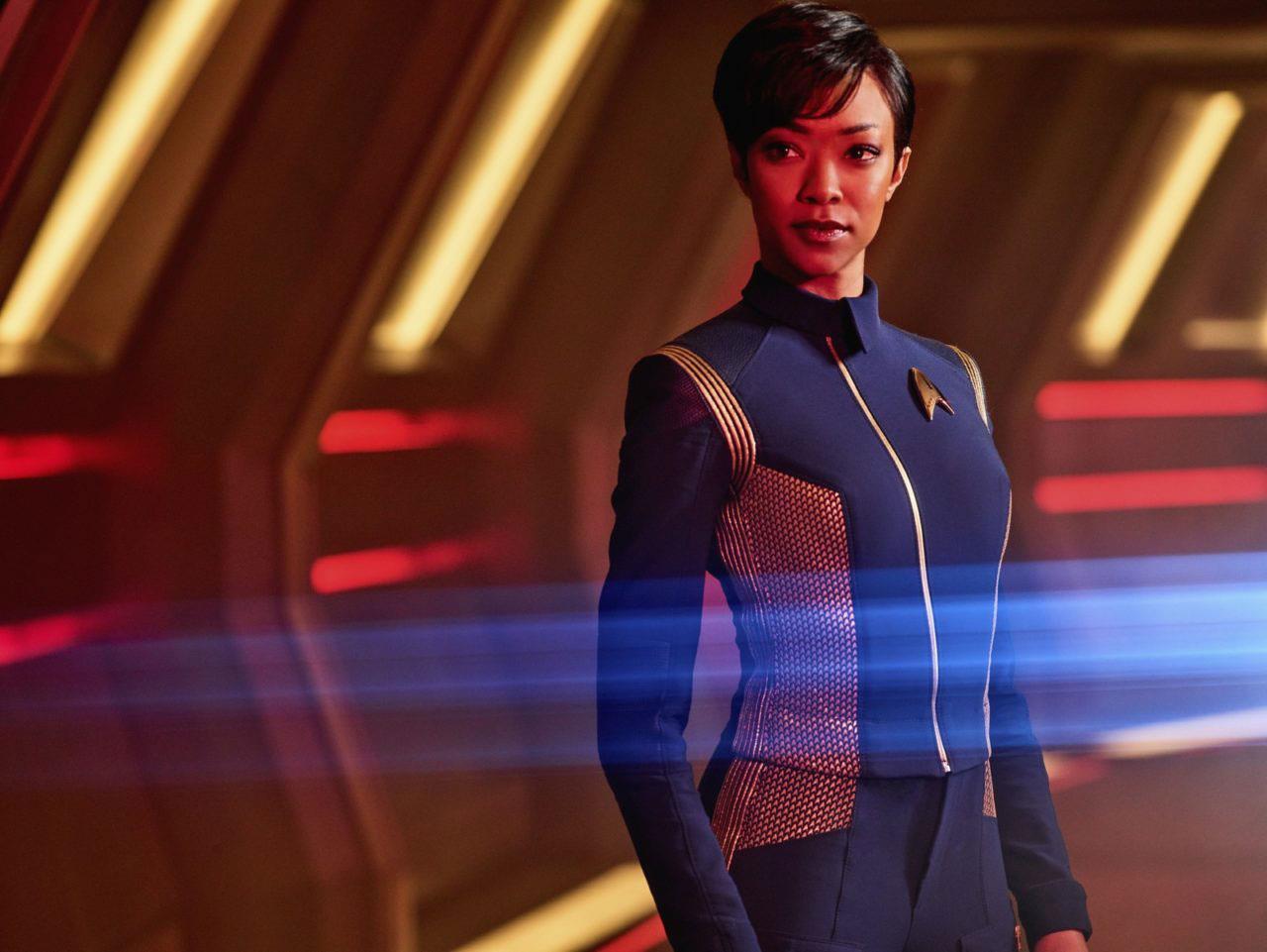 Una foto di scena di Sonequa Martin-Green sul set di Star Trek:Discovery