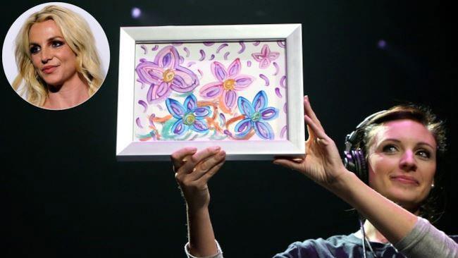L'acquerello di Britney Spears esposto durante l'asta.
