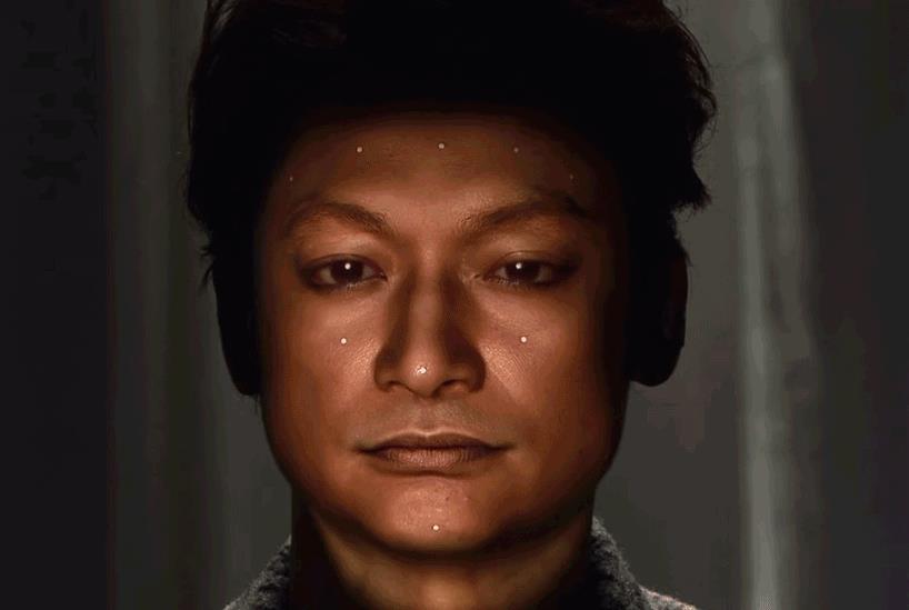 Il proiettore Omote in azione per trasformare il viso