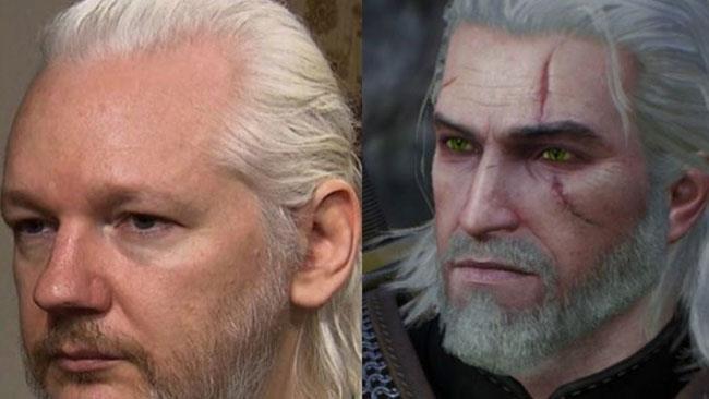 Un collage con Julian Assange e il protagonista del videogame The Witcher