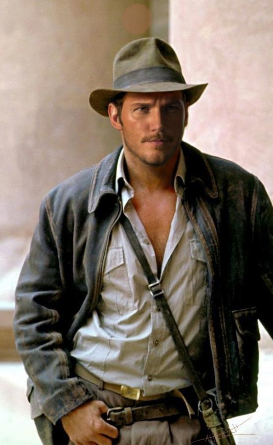 Fanart di Chris Pratt nei panni di Indiana Jones fatta da Rahzzah