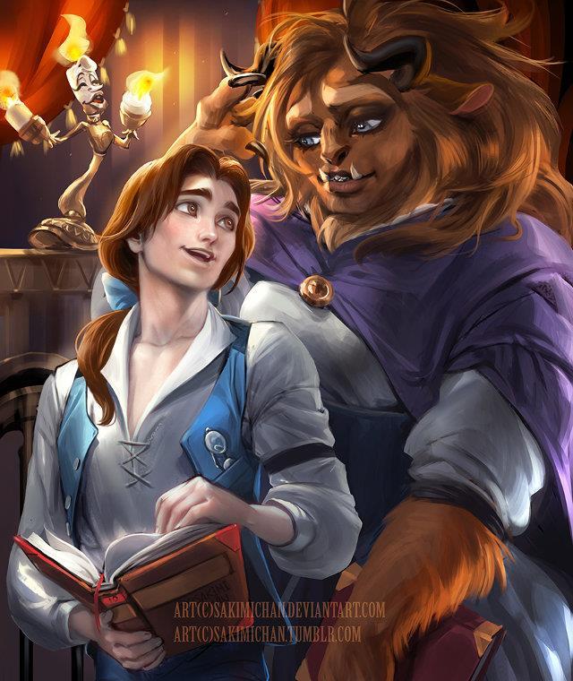 Personaggi della Bella e la Bestia con genere invertito