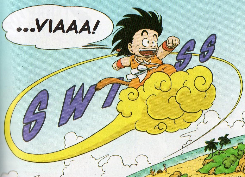 Goku sulla sua celebre Nuvola Speedy.