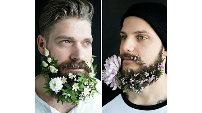 Uomini con fiorellini nella barba