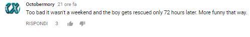 Un altro commento di un utente di YouTube al video del ragazzino bloccato in ascensore