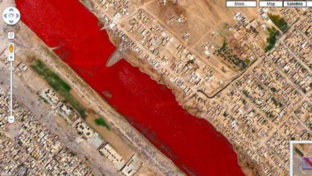 Il lago di sangue visto da Google