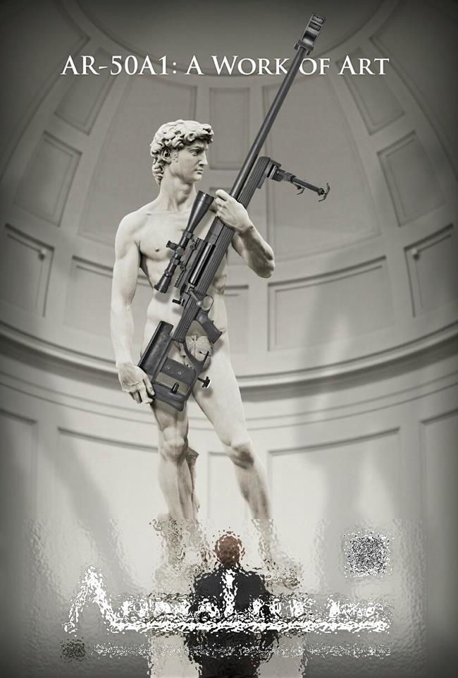 Pubblicità Armalite con il David di Michelangelo