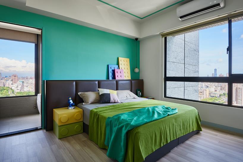 Questa camera da letto è stata ispirata dalle costruzioni LEGO.